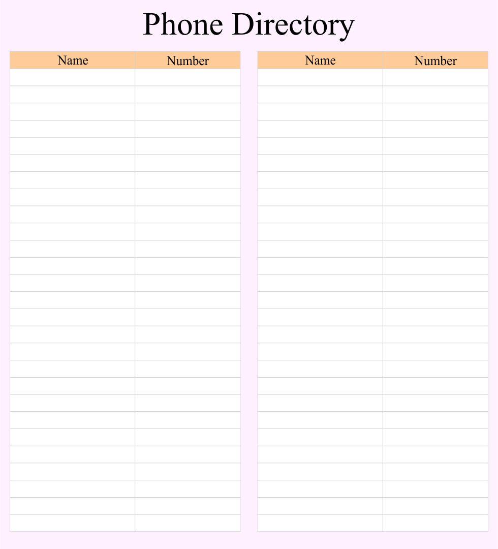 Printable Phone Directory Template