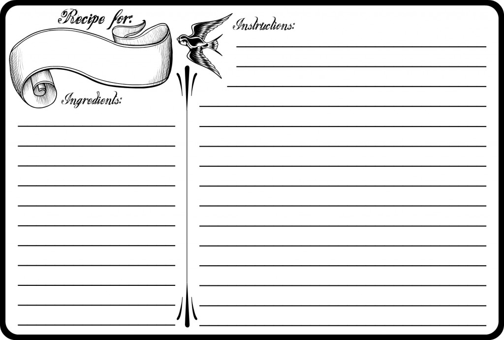 Printable Recipe Card Template 4 X 6