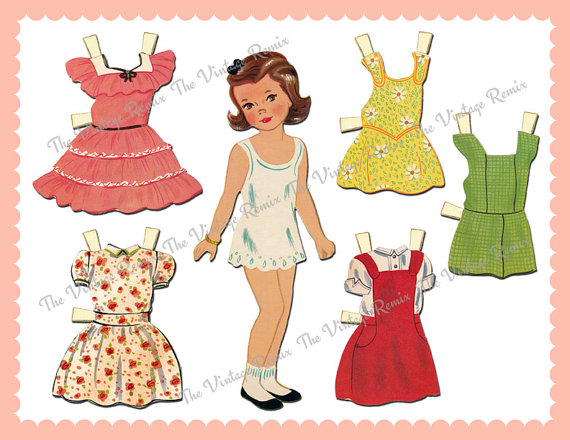 6 Images of Vintage Paper Doll Printable