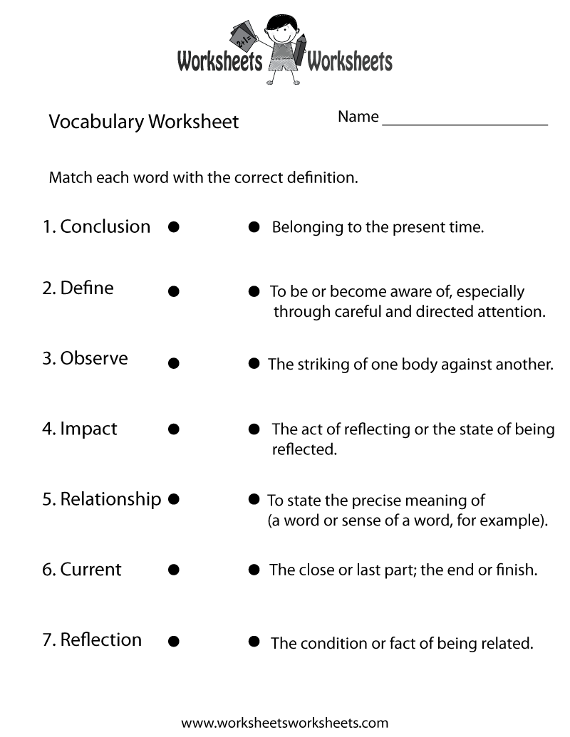 Printables Vocabulary Worksheets Pdf esl vocabulary worksheets pdf kitchen printable 7 best images of free free