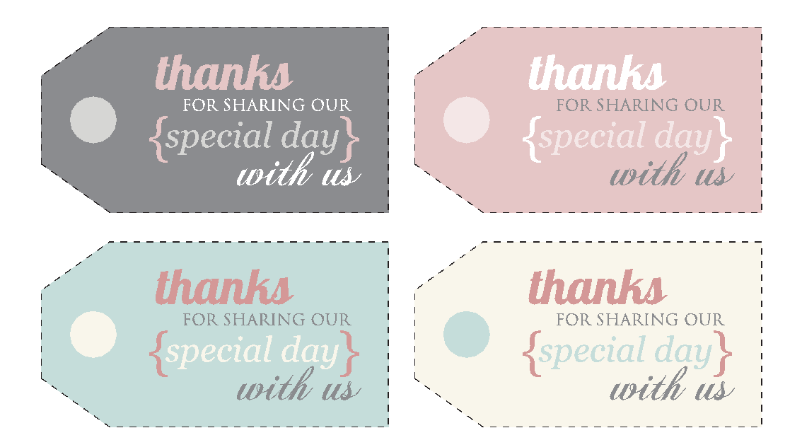 Wedding Thank You Gift Tags Template : Tags - Free Printable Thank You Tags, Free Printable Wedding Thank You ...