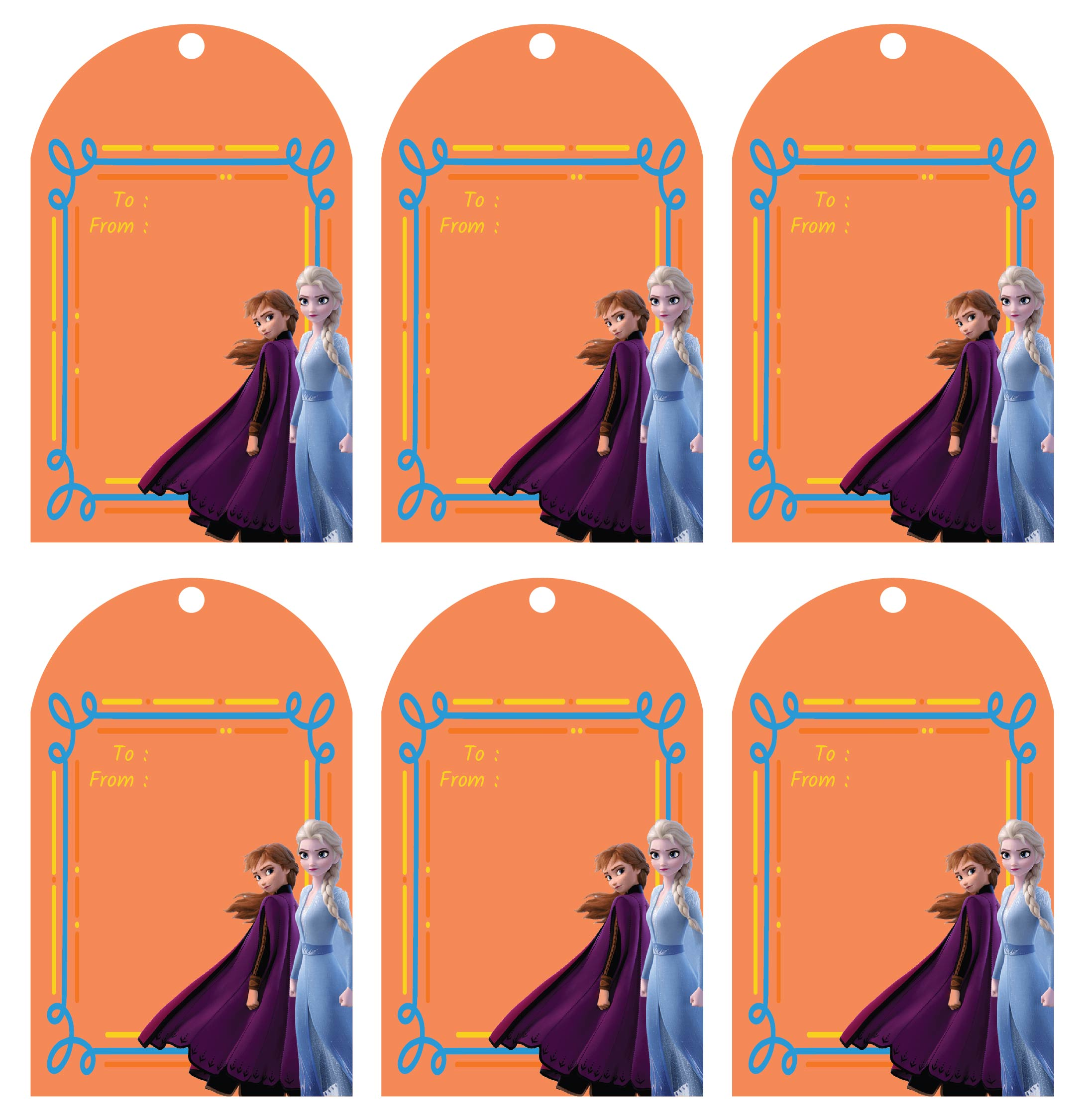Frozen Disney Christmas Gift Tags