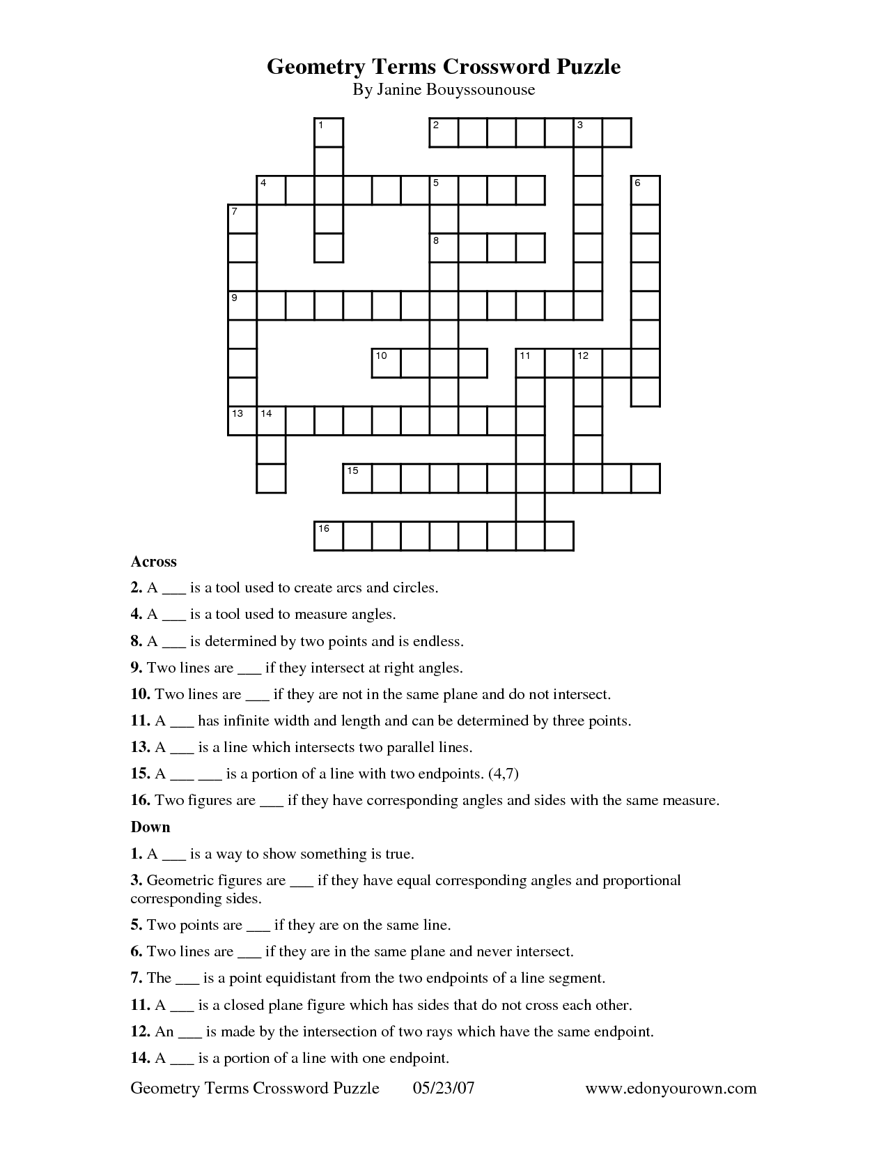 printable math crossword puzzles for high school math crossword puzzles high schoolmath easy a. Black Bedroom Furniture Sets. Home Design Ideas
