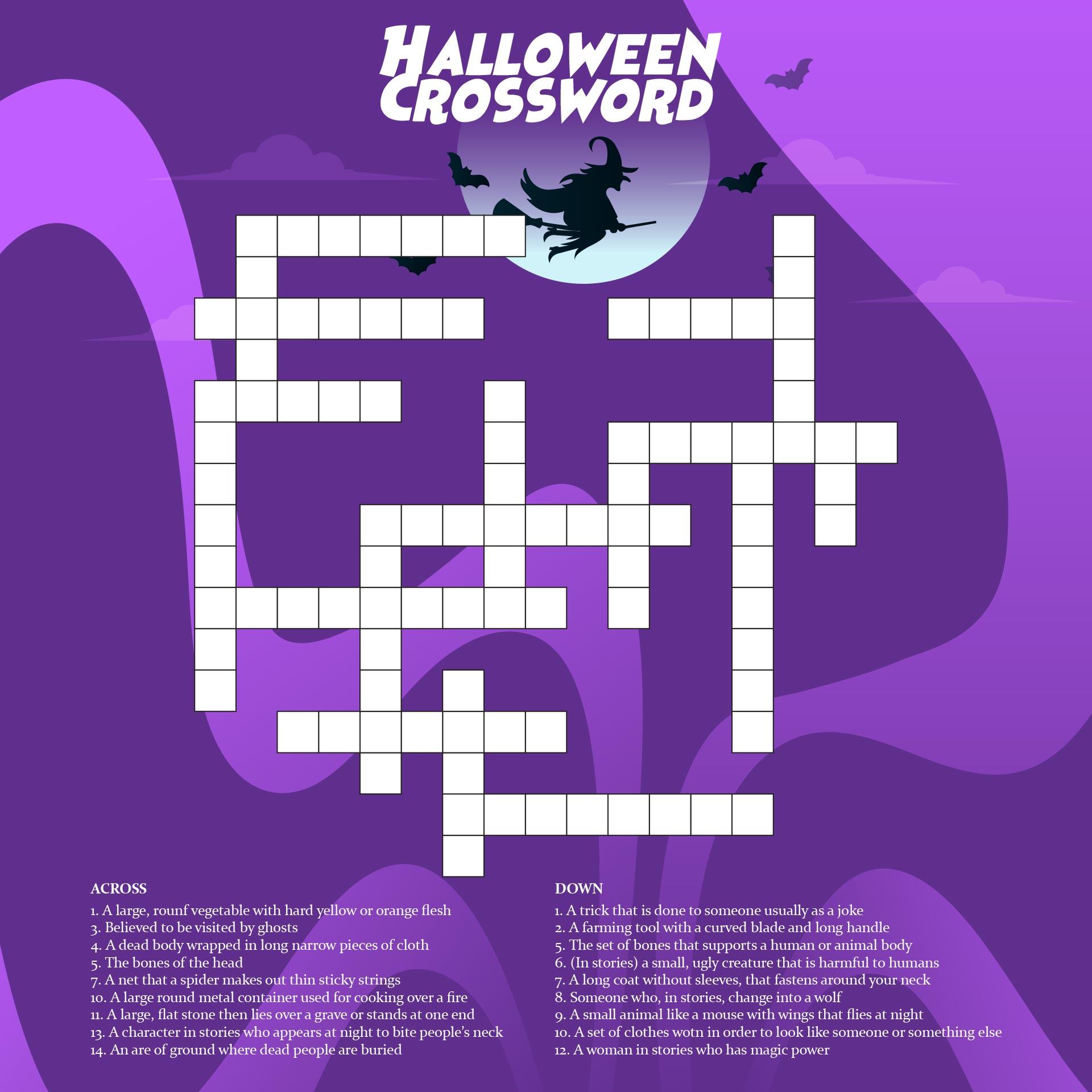 Hard Halloween Crossword Puzzles Printable