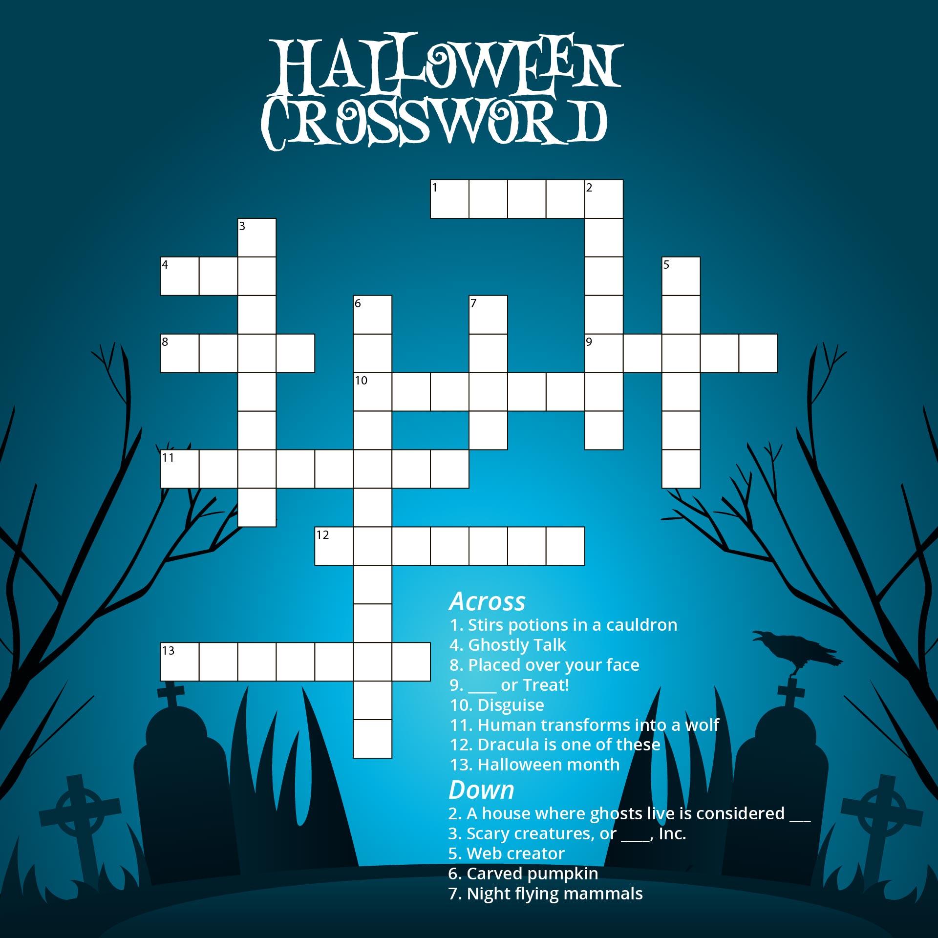Hard Halloween Crossword Puzzles