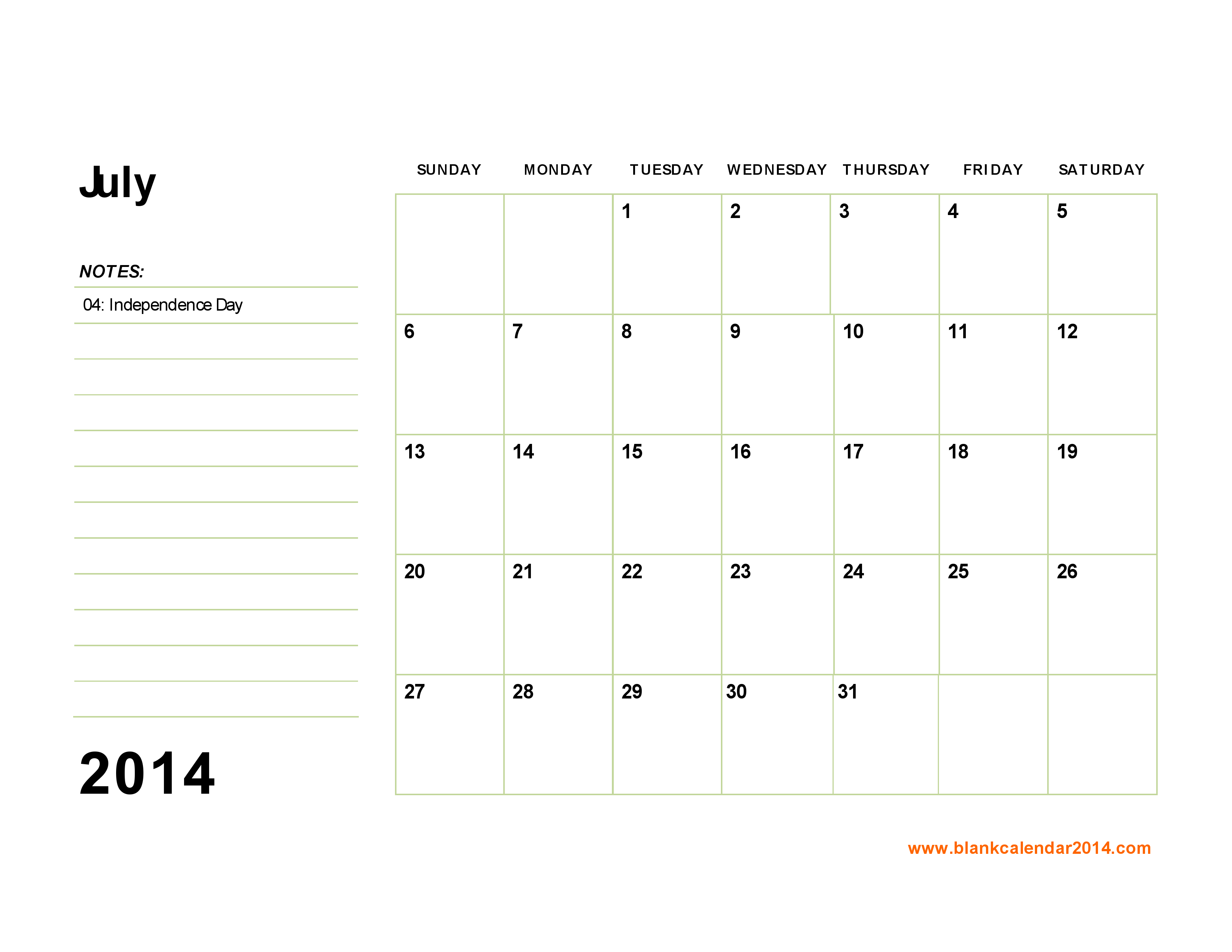 4 Images of Free Printable July 2014