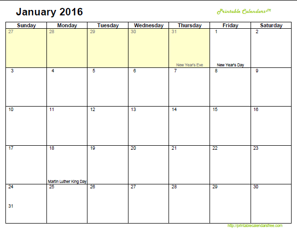 January Calendar 2016 : January related keywords long tail