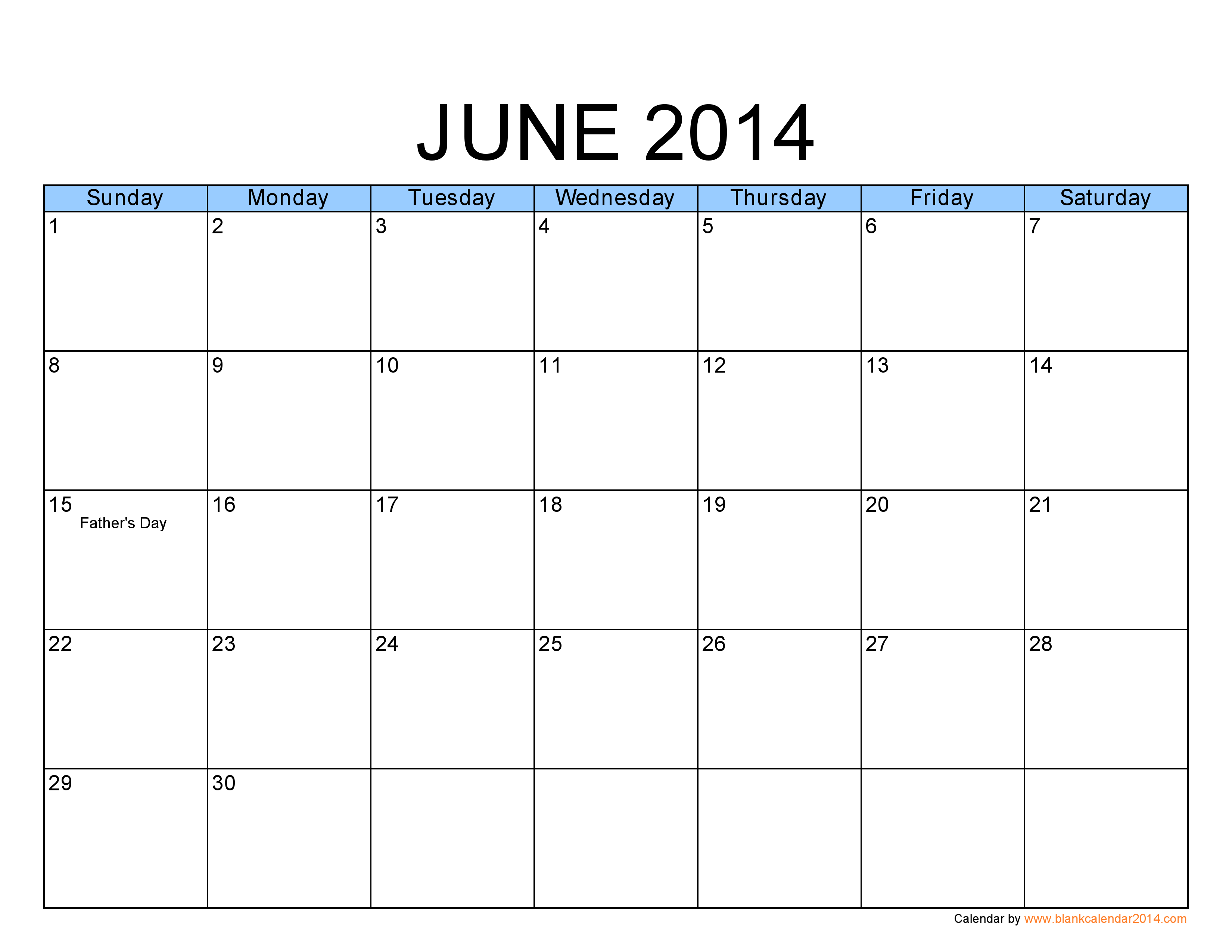 8 Images of Free Printable Calendar June 2014