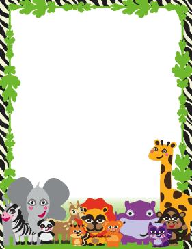 6 Images of Free Printable Safari Animal Border