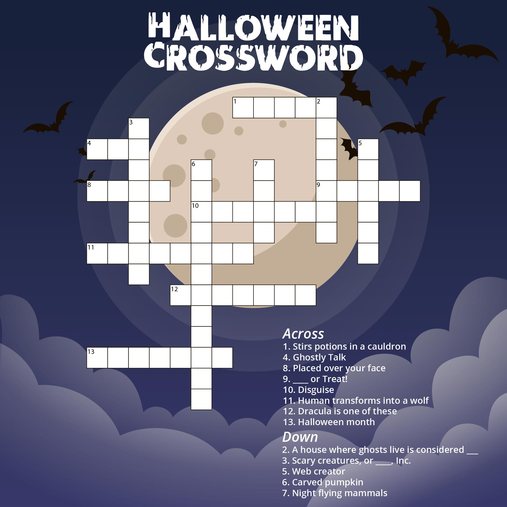4 Images of Free Printable Halloween Crossword Puzzle