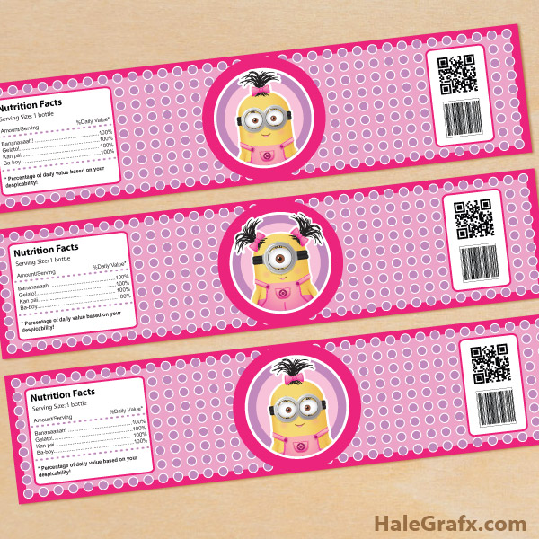 7 Images of Mini Minion Free Printable Water Bottle Labels