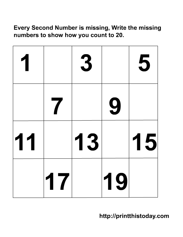 5 Images of Printable Writing Numbers To 20