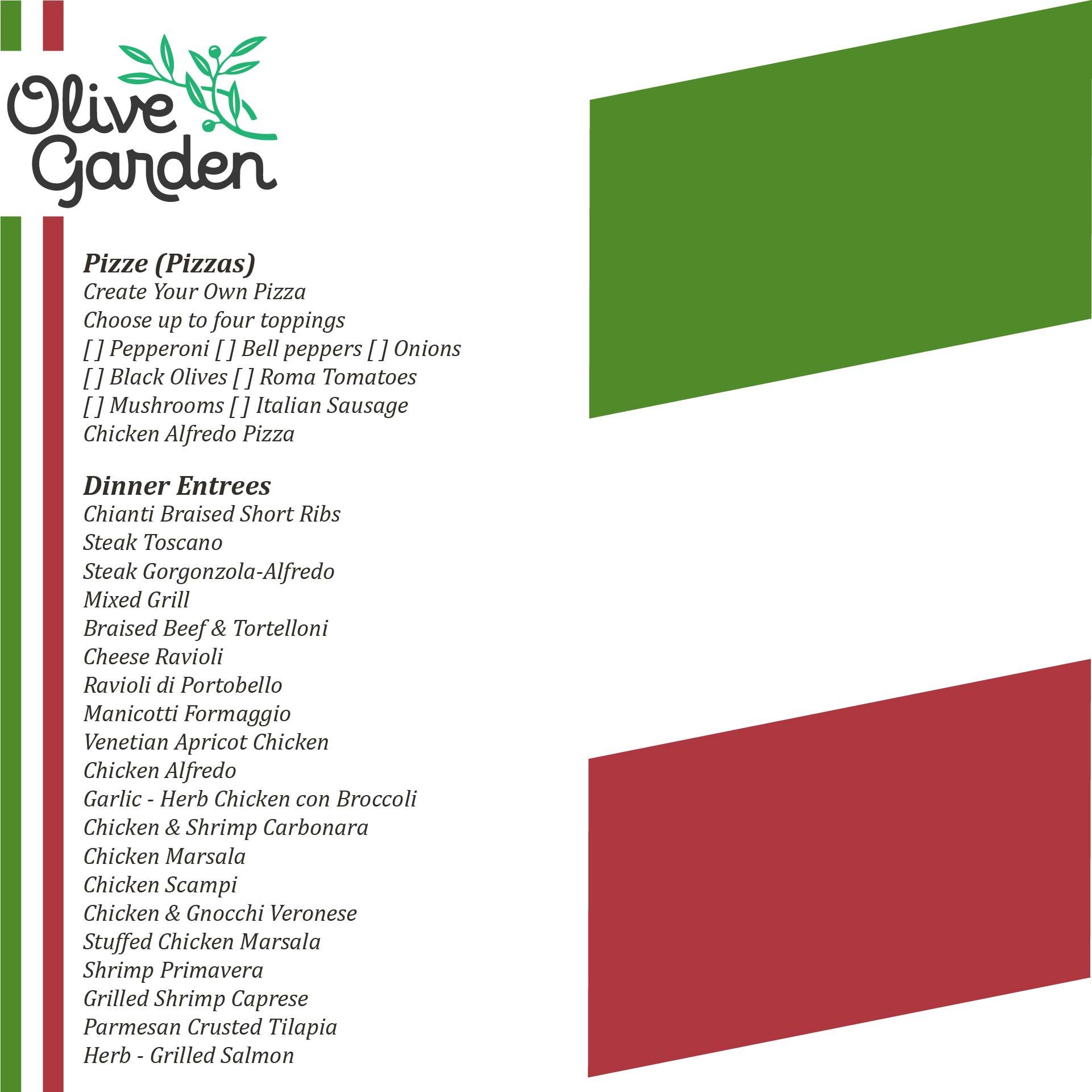 Olive Garden Menu Appetizers