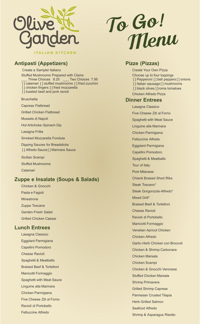 Image Gallery Olive Garden Menu Prices