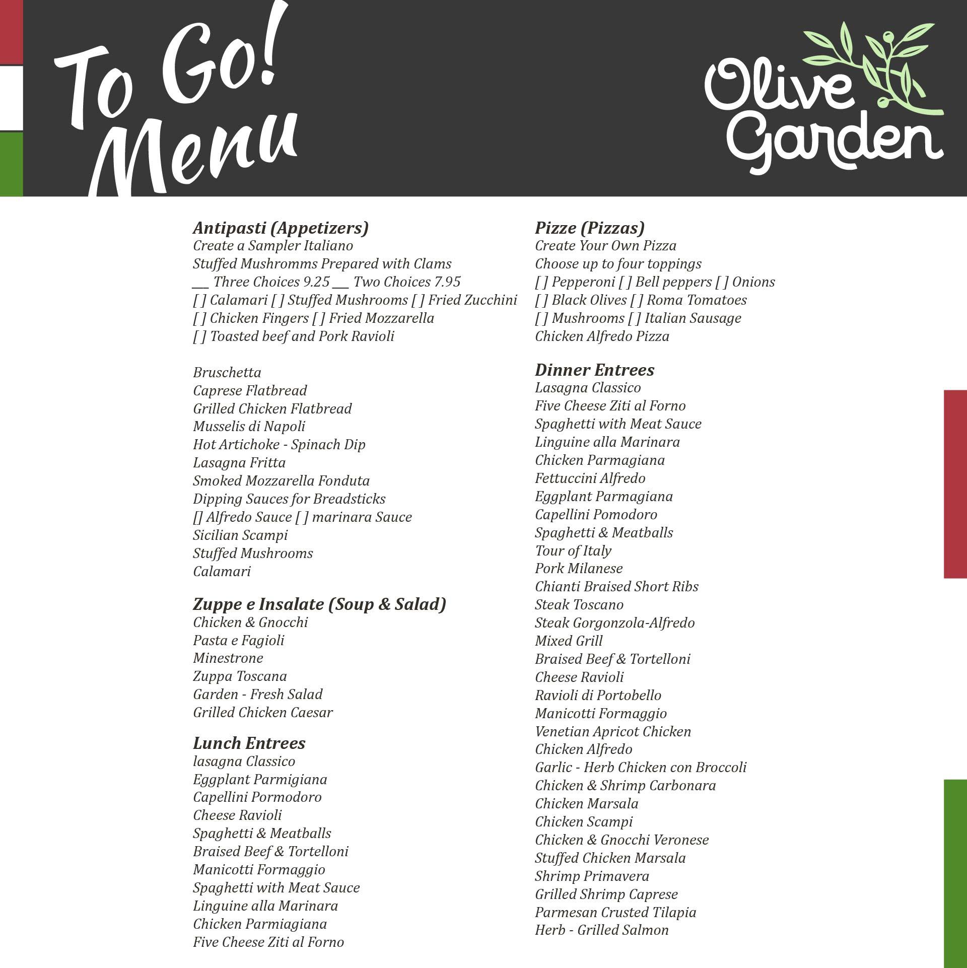 Olive Garden Printable Menu