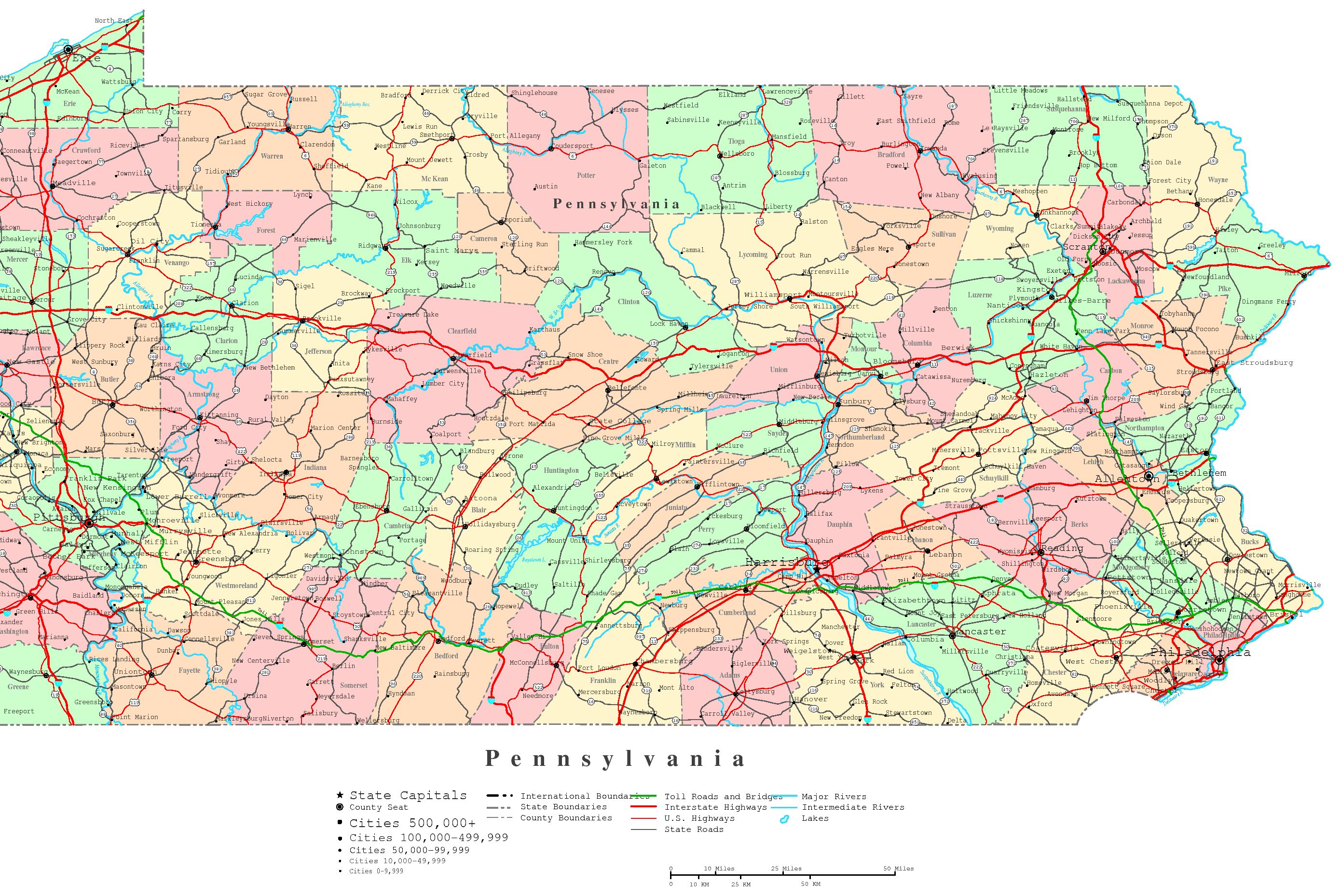 4 Images of Printable Map Of Pennsylvania