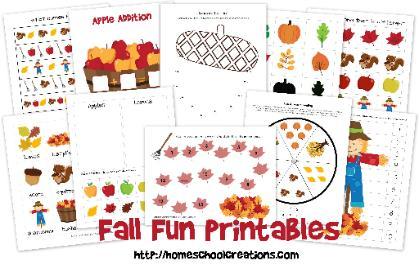 7 Images of Fun Fall Preschool Printables