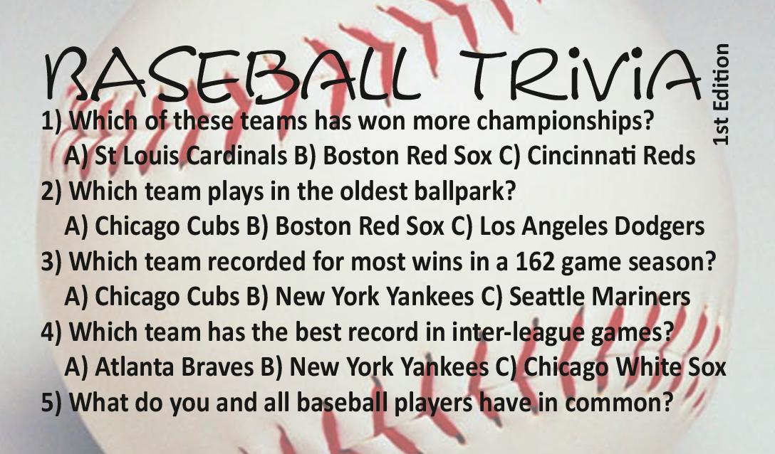 Printable Baseball Trivia and Answers