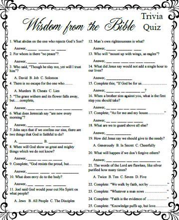 Printables Printable Bible Worksheets For Adults 6 best images of printable bible games for adults free trivia games