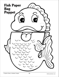 8 Images of Fish Paper Bag Puppet Printable