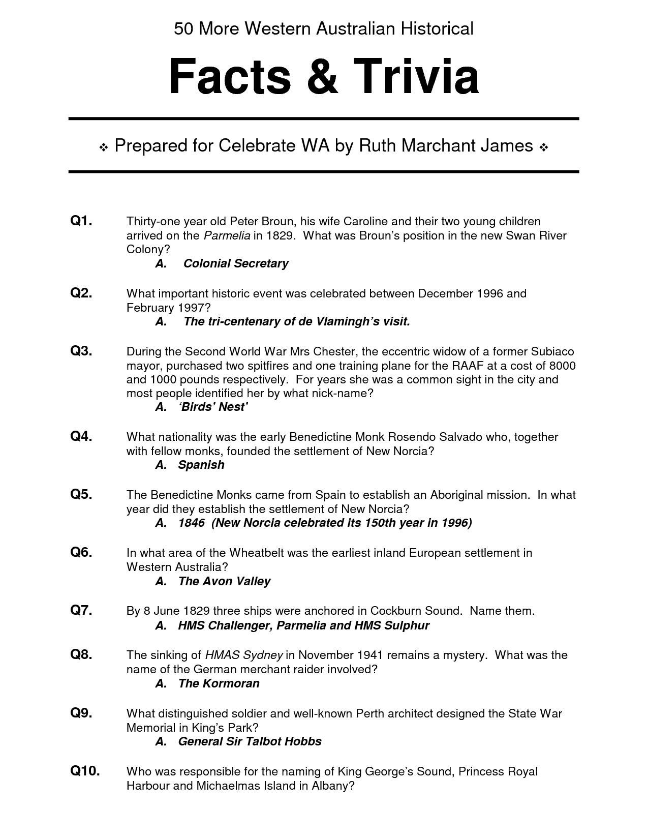 6 Images of 10 Printable Easy Trivia Questions