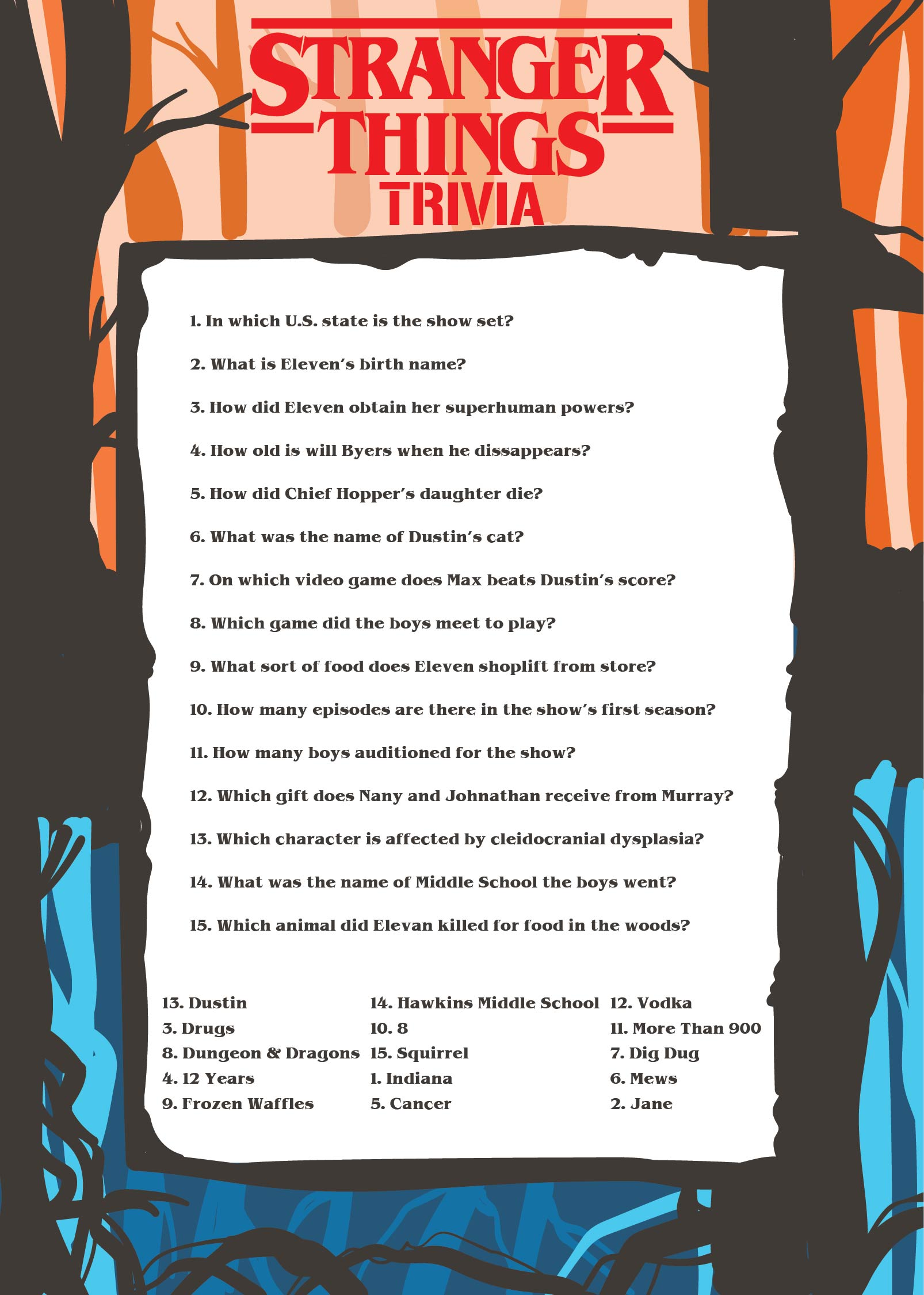 Printable Trivia Questions and Answers