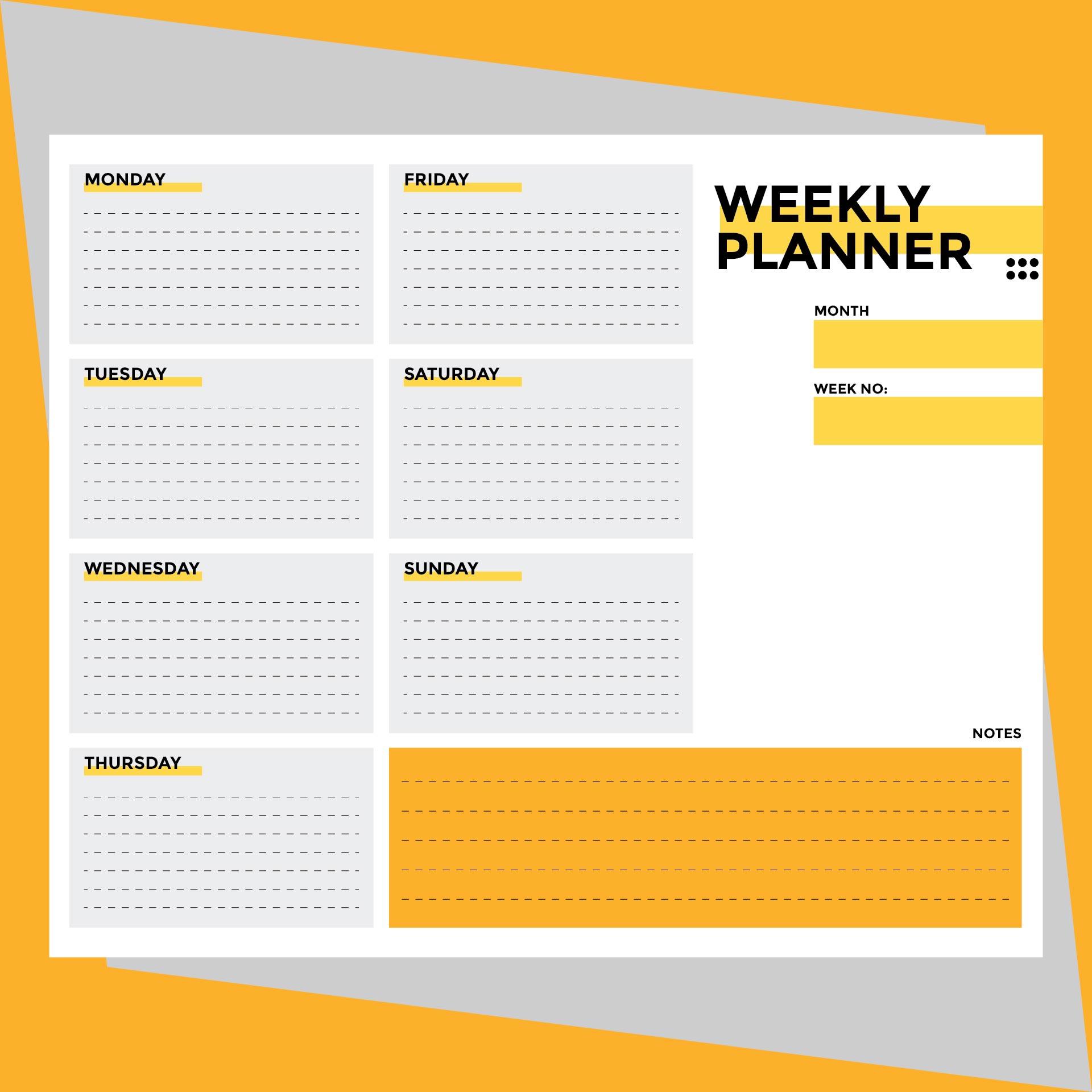 9 best images of weekly planner printable pdf