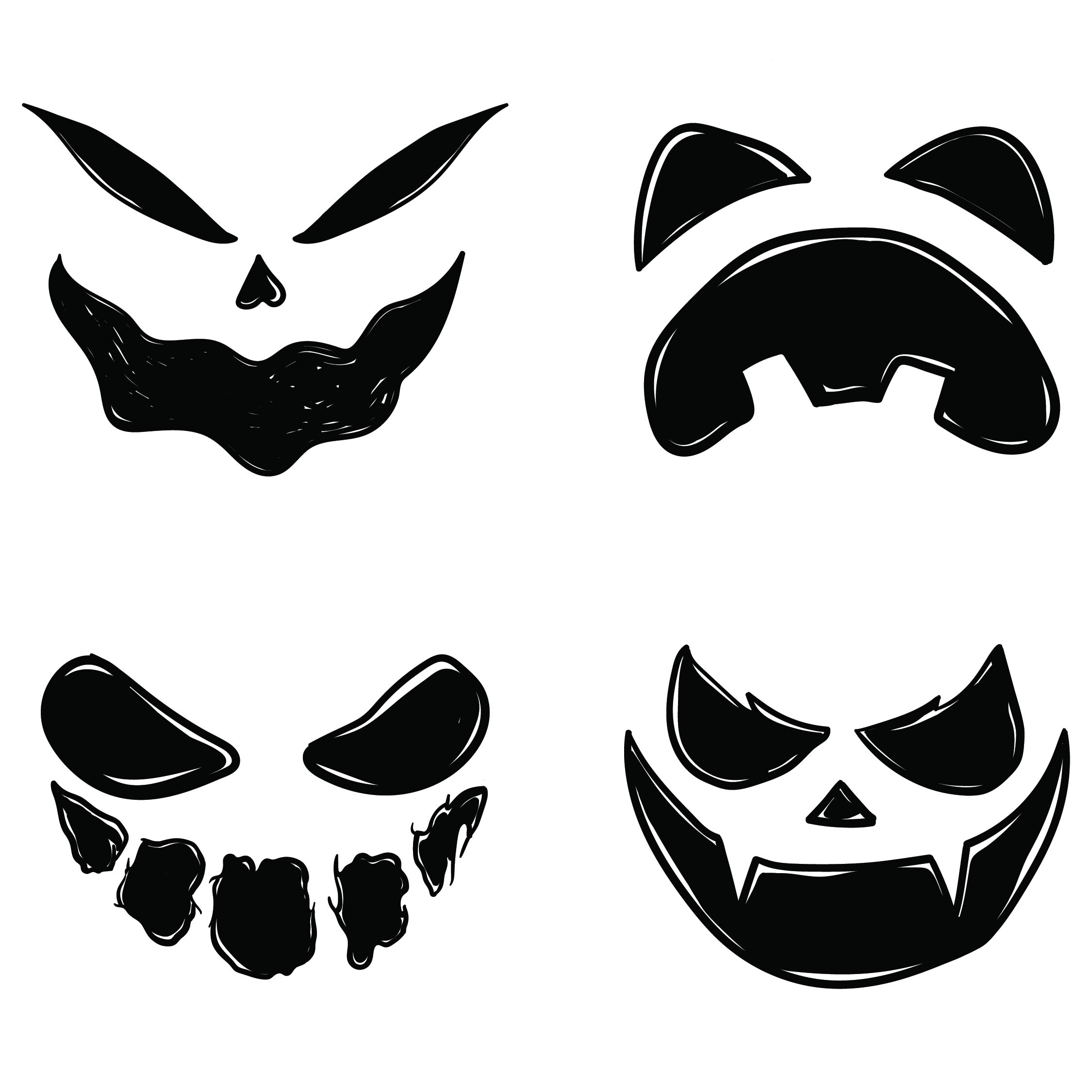 Scary Face Pumpkin Carving Patterns Printable