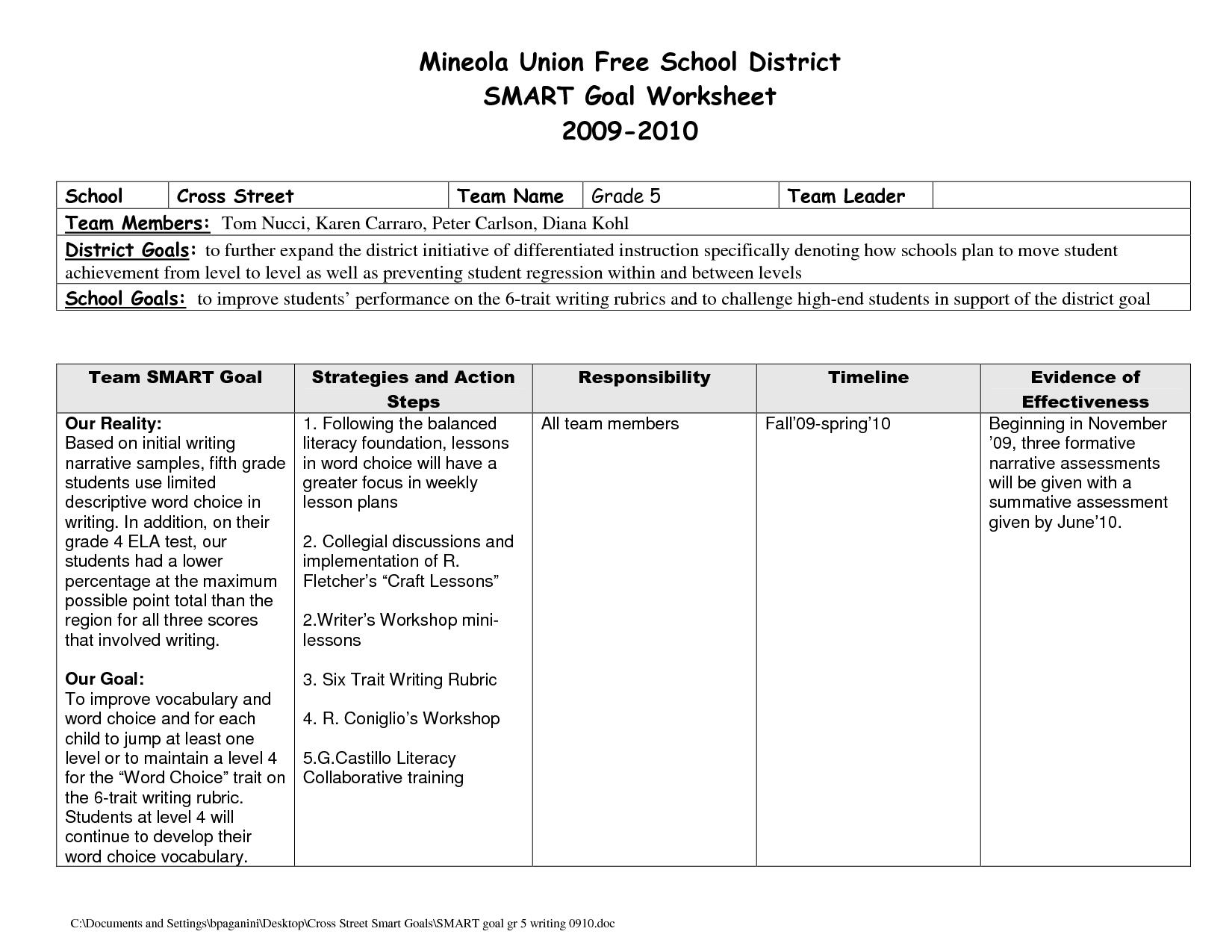 Smart Goals Worksheet Template Printable Pictures to Pin on – Smart Goals Worksheet for Students