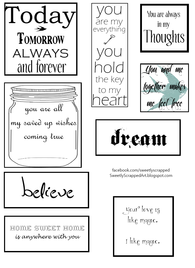 4 Images of White And Black Smash Book Printables