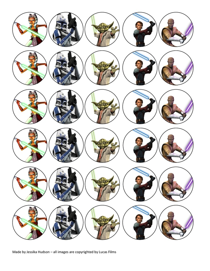 8 Images of Star Wars Printable Cupcake Toppers