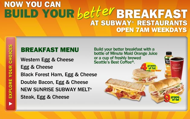 6 Images of Subway Breakfast Menu Printable