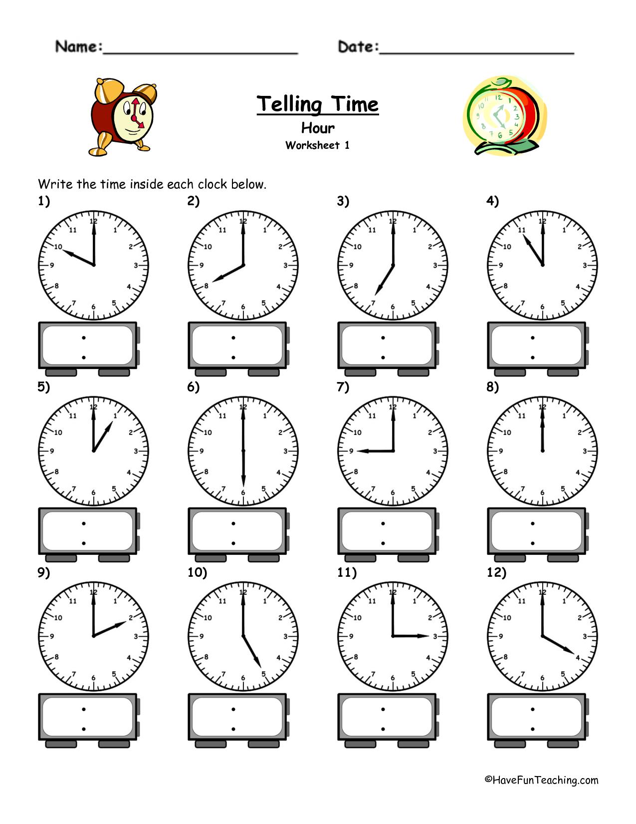 4 Best Images of Printable Clock Worksheet Telling Time ...