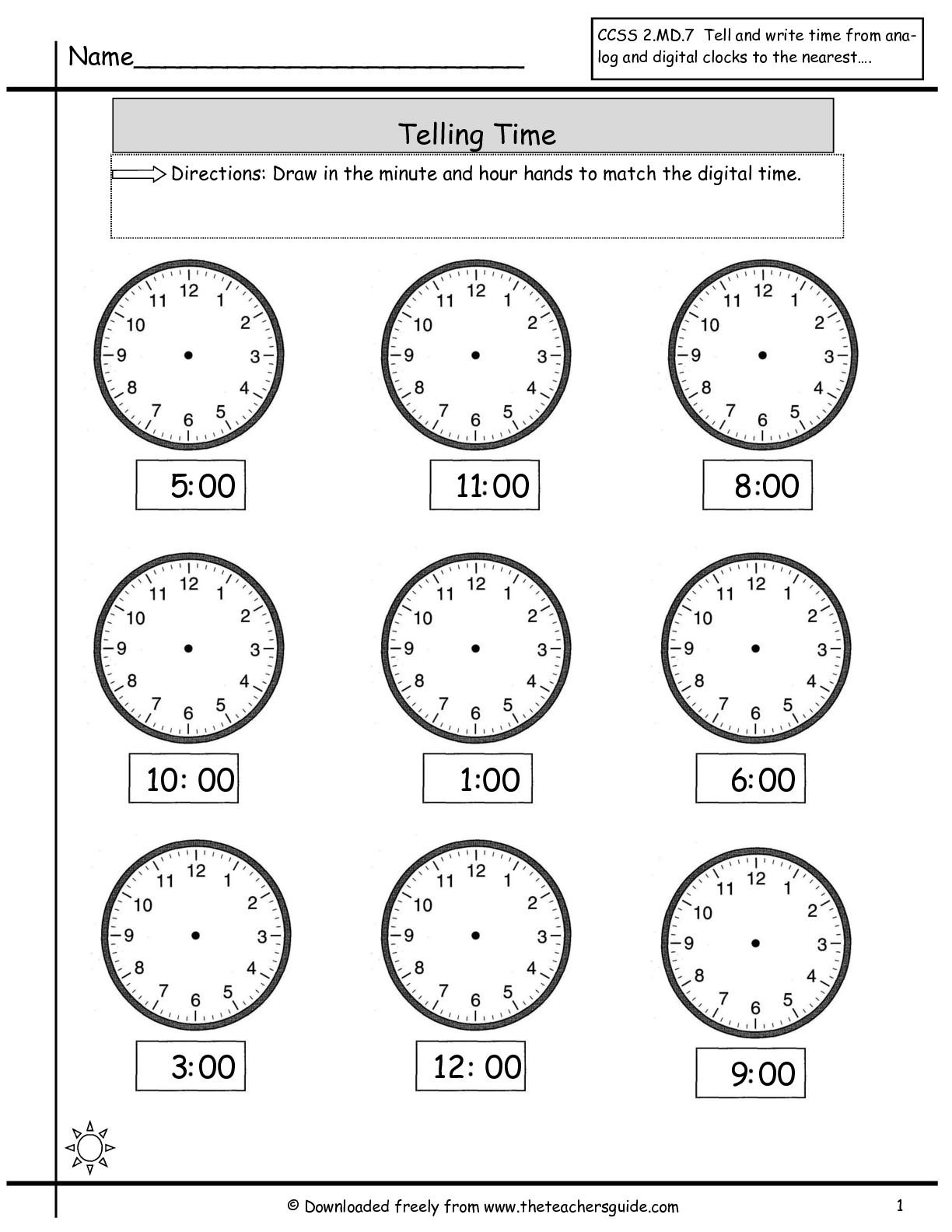 printable time worksheets – Clock Worksheet for Kindergarten