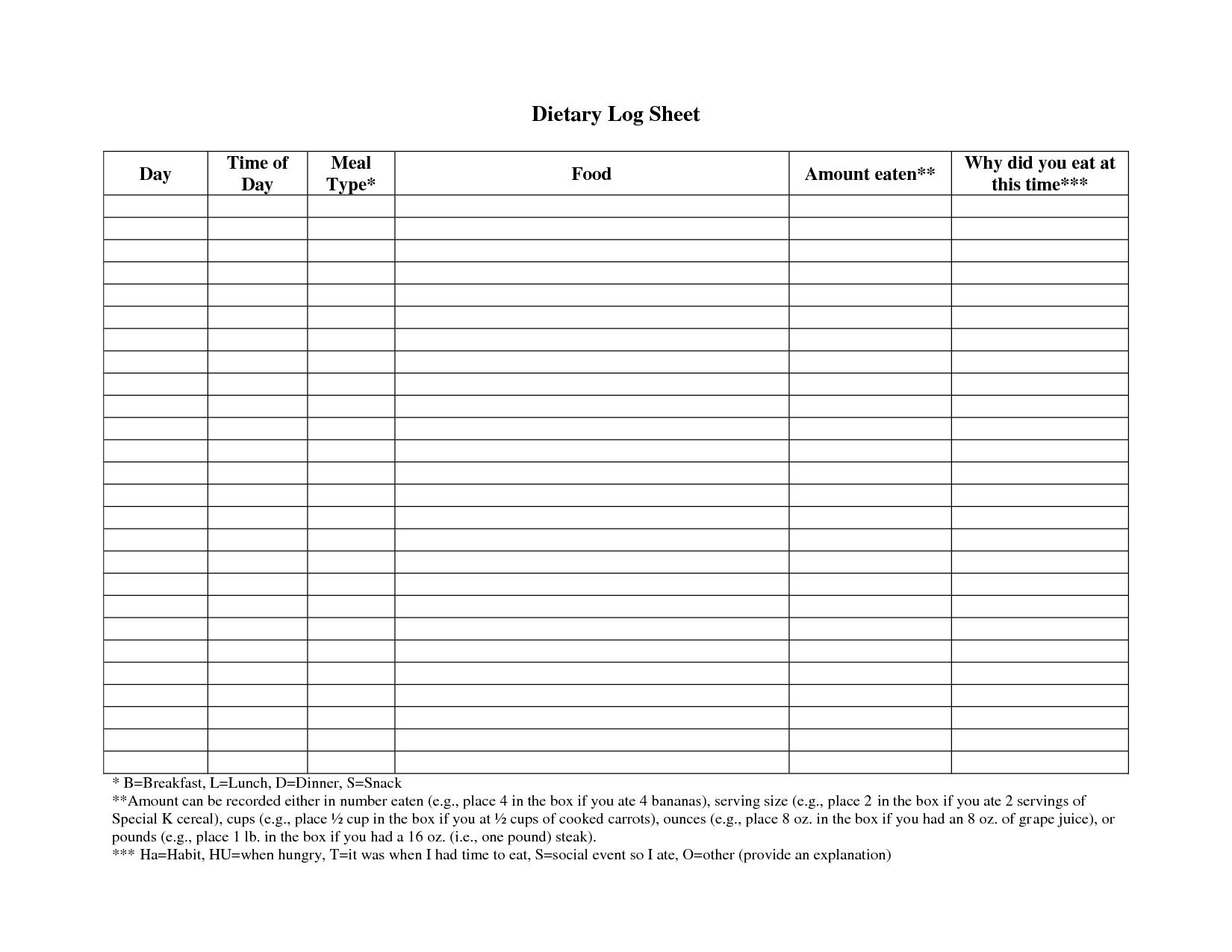 free log sheet template