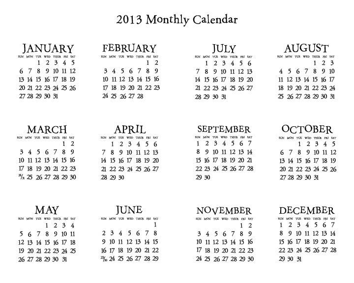 Mini Year Calendar : Best images of printable mini calendar template
