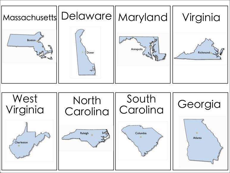4 Images of Individual States Printables