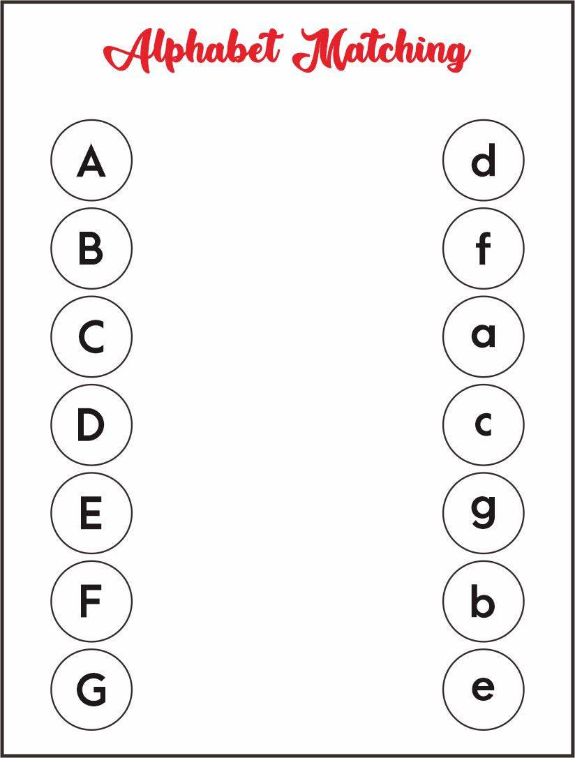 Alphabet Matching Letters Worksheets Printable