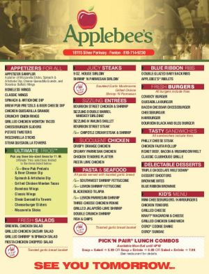 Applebee's ToGo: Have you tried Applebee's ToGo, our new improved takeout food service? Simply order online and schedule your pickup time. Select Applebee's Carside ToGo and when you arrive just park in the designated ToGo spaces and we'll bring your takeout order to your vehicle.