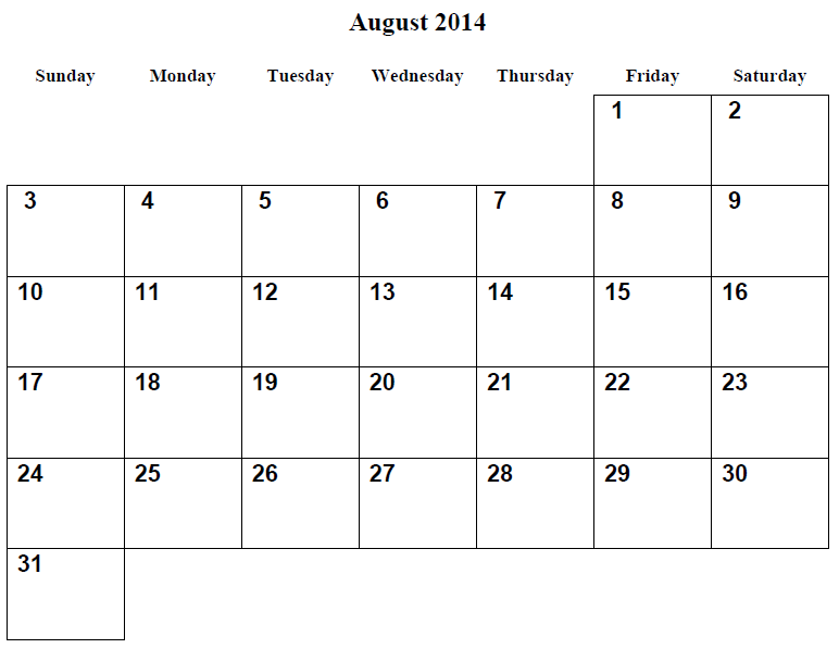 August 2014 Monthly Calendar Printable 9 best images of printable 2014 ...