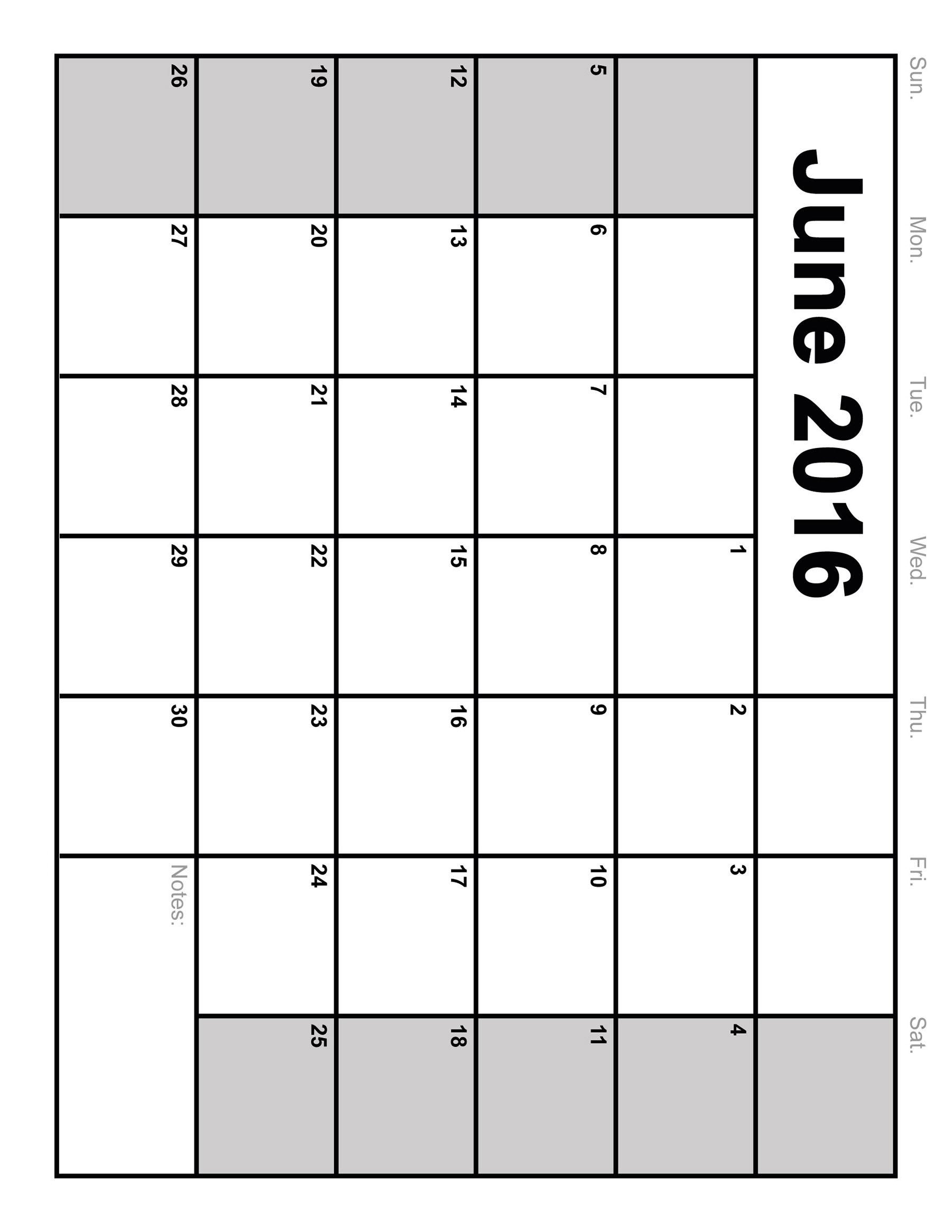 9 Images of Printable Blank Calendar June 2016