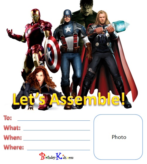 7 Images of Free Avengers Printable Birthday Invitations