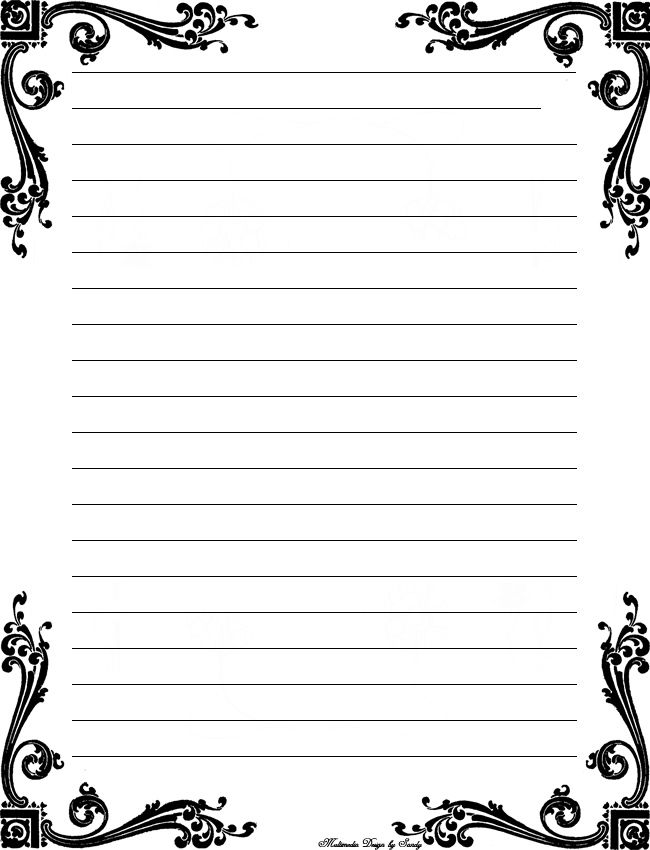 5 Images of Printable Lined Stationery Black And White