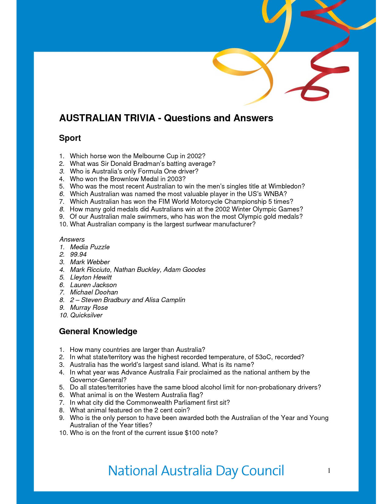 Free Printable Trivia Questions -General Sports Trivia with Answers