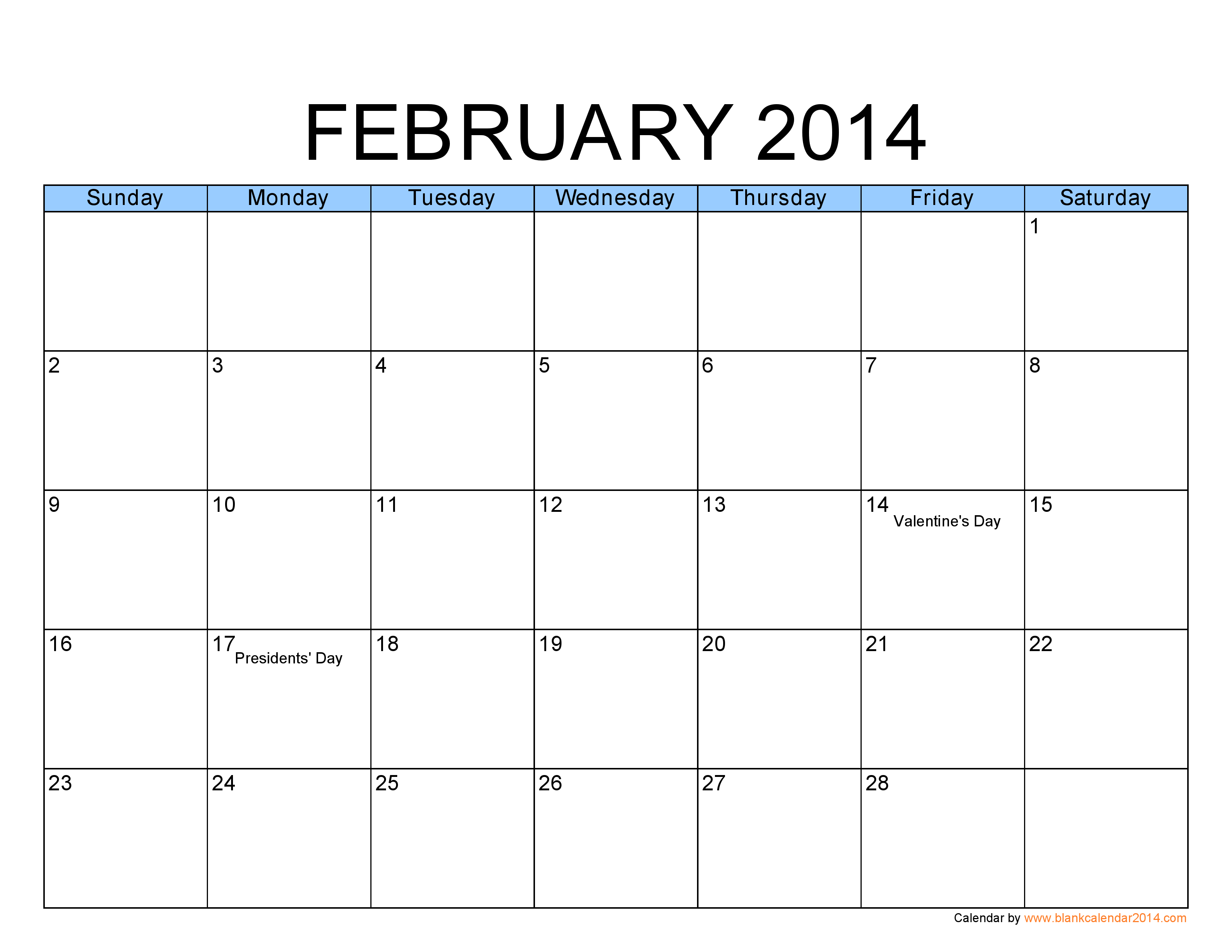 7 best images of printable monthly calendar february 2014