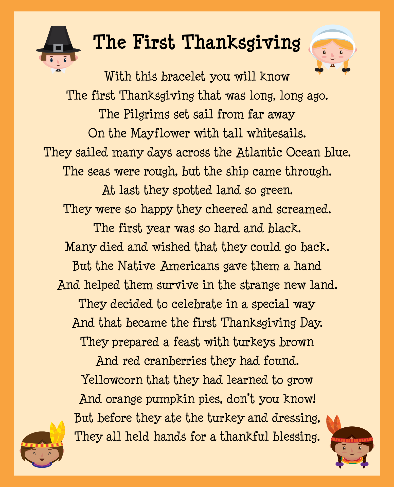 6 Images of Thanksgiving Story Printable