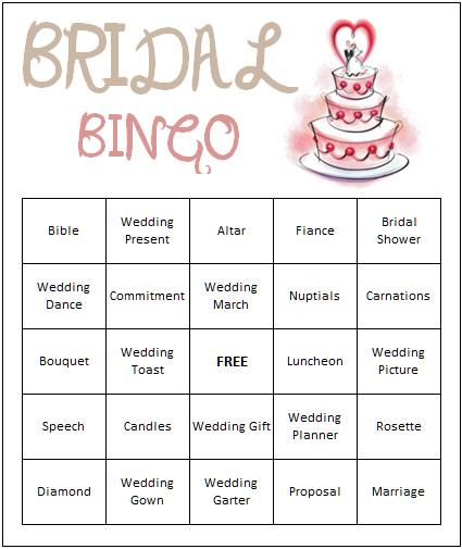 6 Images of Free Printable Bridal Bingo