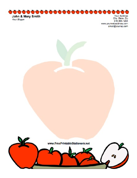 5 best images of apple template lined printable apple for Free letterhead templates for mac