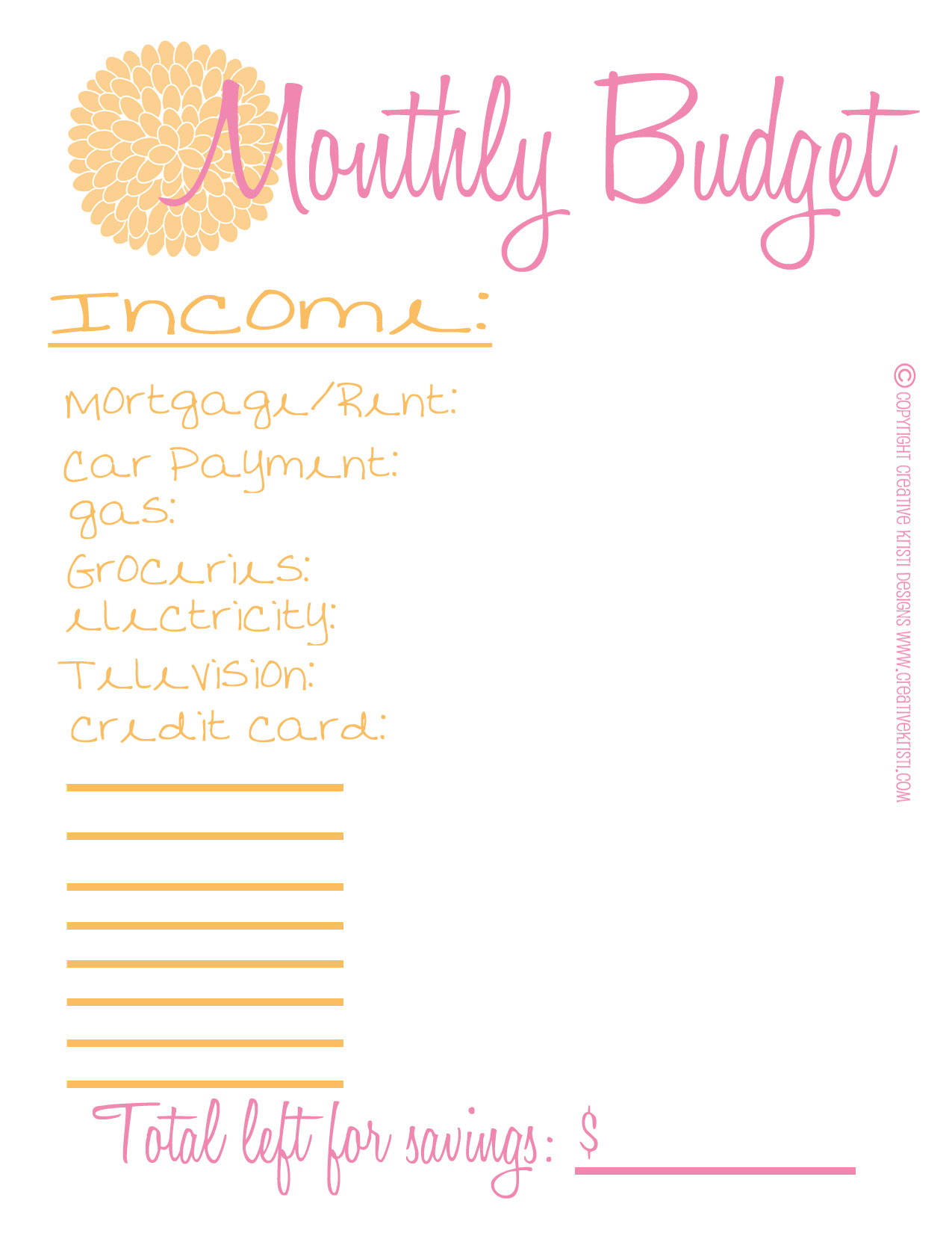 Free Printable Monthly Budget Sheet - Free Printable Budget Worksheet ...