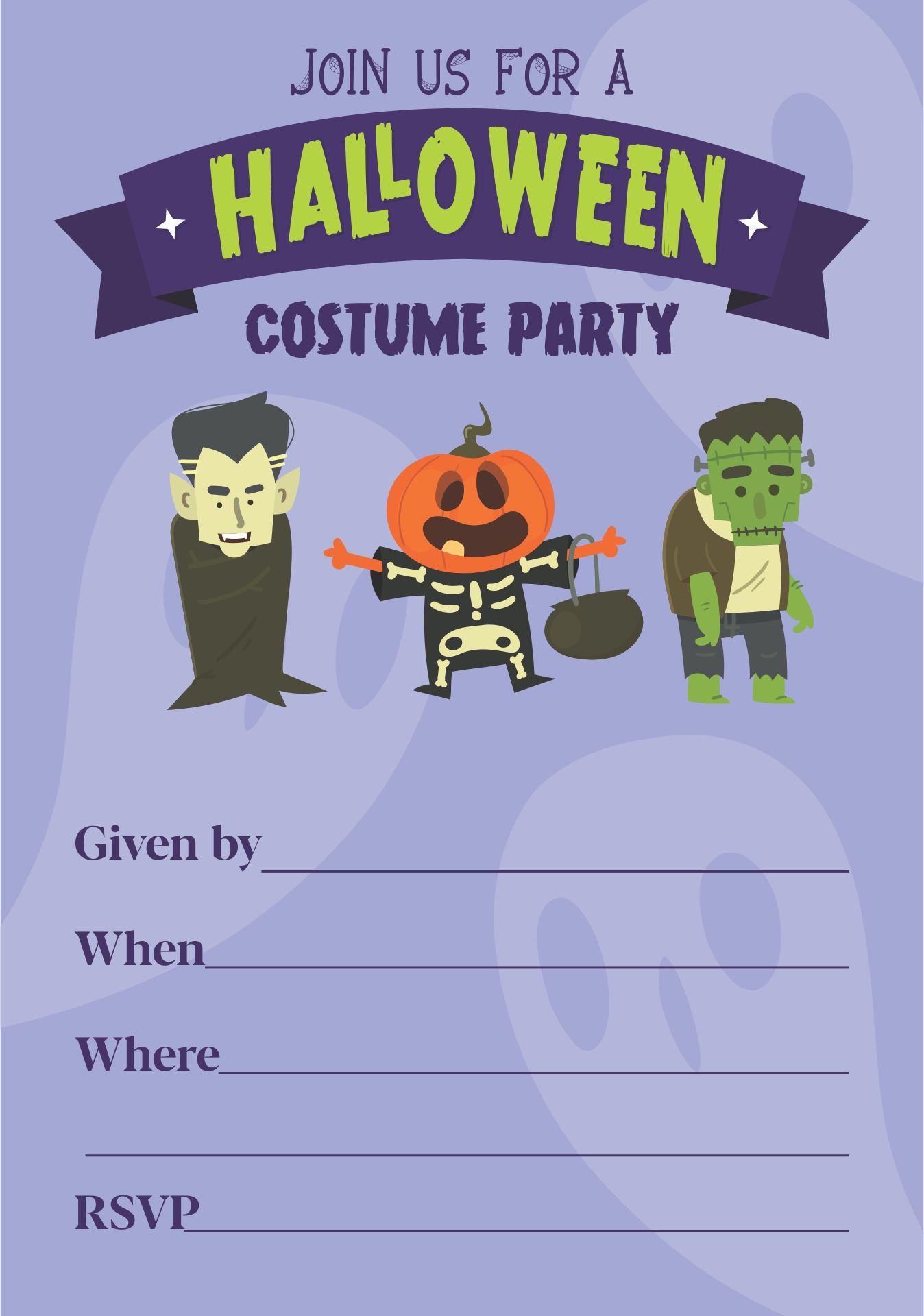 Printable Halloween Invitation Crafthubs – Free Printable Halloween Costume Party Invitations